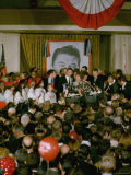 California Governor Candidate Ronald Reagan and Wife at Mike Adorned Podium