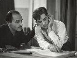 Composer Marc Blitzstein with Conductor/Composer Leonard Bernstein Studying Score of Blitzstein