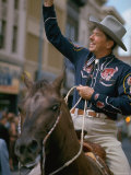 California Republican Gubernatorial Candidate Ronald Reagan  in Cowboy Attire  Riding Horse Outside