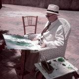 Raoul Dufy Painting on Sunny Terrace in Caldas de Montbuy  Spain