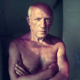 Portrait of Artist Pablo Picasso  Arms Folded Across Bare Chest  at His Home  Alone