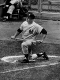 Yankees Outfielder Mickey Mantle Sitting in Circle Waiting to Bat During Game at Yankee Stadium