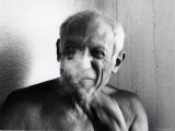 Portrait of Artist Pablo Picasso  Bare Chested and Smiling