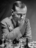 American International Ace Reuben Fine  Concentrating on the Chess Game During the Tournament