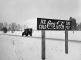 Coca Cola Road Sign on Autobahn Between Munich and Salzburg with Jep Driving