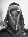 12 Year Old David Colson  Freckled Face Wrapped with Scarf  Felt Hat  Covered with Snow and Ice