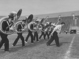 Marching Band Going Through Their Routines During Bands of America
