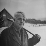 Poet Robert Frost in Affable Portrait  Axe Slung over Shoulder in Wintry Rural Setting