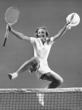 Alice Marble  No 1 US Woman Tennis Player  Victoriously Leaping over Tennis Net on Court
