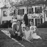 Future Atty Gen Robert Kennedy Posing with Wife and Children in Front of Their Hickory Hill Home
