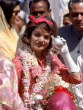 First Lady Jackie Kennedy is Welcomed at the Jaipur Airport During Her Tour of India