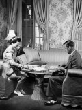 The Duke Windsor and His Wife  Playing a Card Game in Their Home