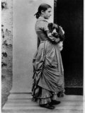 British Author/Illustrator Beatrix Potter Posing Outside with Her Dog at Age 15