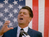 California Gubernatorial Candidate Ronald Reagan Animatedly Speaking Into Mic
