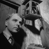 British Actor Emlyn Williams Standing under a Lantern