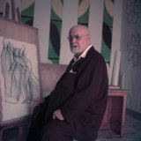 Henri Matisse  Alone  Seated at Easel Displaying One Off His Drawings at His Home in Nice