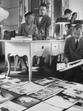 Harper's Bazaar Editor Carmel Snow Examining Some Layouts with Alevey Brodovitch  in Her Office