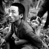 Marianas Island Father with Child After Capture by Americans During Battle Between US and Japanese