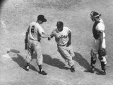 White Sox Player Nellie Fox at Home Plate  Shaking Hands with Minnie Minoso During Game