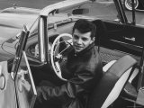 Teen Heartthrob Actor/Singer Frankie Avalon in Driver&#39;s Seat of His 1958 Pontiac Convertible
