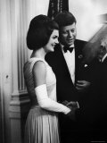 President John F Kennedy  and Wife Jackie Greeting Guests at Party for Nobel Prize Winners