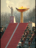 Lighting of the Olympic Torch during the Opening Ceremonies in Sapporo  Japan