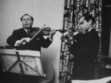 Violinist Isaac Stern Playing at Party with Violinist Leonid Kogan