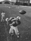 Players Don McClelland and Bobby Conrad During a Pre Season Practice of Texas A and M Football Team
