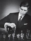 American Chess Champion Robert J Fisher Playing a Match