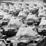Tanks Parked in Formation on Road and Open Field for Storage Near Us Ordinance and Supply Depot