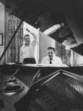 "Creators of ""My Fair Lady""  Allan Jay Lerner and Frederick Loewe  at Piano Working on Score"