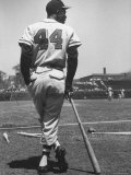 Milwaukee Braves Hank Aaron Leaning on Bat During Baseball Game