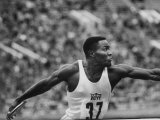US Track Athlete Rafer Johnson Participating in a Us Soviet Track Meet
