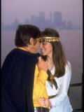 Young Couple with a Misty Manhattan Skyline in the Back Ground