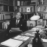 Adlai E Stevenson Working at His Desk at Home