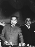 Red Chinese Leader Chou En Lai During His Tour of Egypt  with Gamal Abdul Nasser