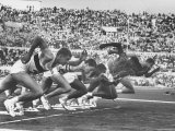West Germany&#39;s Armin Harry  Winner of Men&#39;s 100 Meter Dash at Start of Event in Summer Olympics