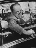 Author Vladimir Nabokov Writing in His Car He Likes to Work in the Car  Writing on Index Cards