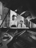 "Authors of ""My Fair Lady""  Allan Jay Lerner and Frederick Loewe  at Piano Working on Music"