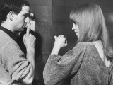 Film Director Francois Truffaut with Actress Julie Christie During Filming of &quot;Fahrenheit 451&quot;
