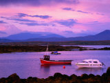 Boats Moored in Inlet  Sunset  Ireland