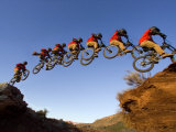 Mountain Biker Catches Air at Rampage Site near Virgin  Utah  USA