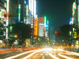 Traffic at Night  Ginza Area  Tokyo  Japan