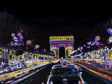 Champs Elysees and Arc de Triomphe  Paris  France