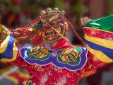 Mask Dance Celebrating Tshechu Festival at Wangdue Phodrang Dzong  Wangdi  Bhutan