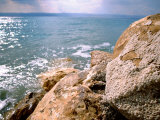 Rocky Shoreline with Salt Crystals  Dead Sea  Jordan