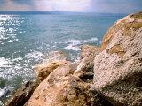 Rocky Shoreline with Salt Crystals  Dead Sea  Jordan