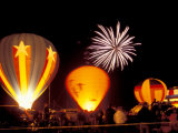 Fireworks During Night Glow Event  30th Annual Walla Walla Hot Air Balloon Stampede  Washington