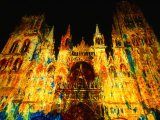 Light Show Projected on Rouen Cathedral  Rouen  France