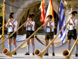 Men Playing Alphorn  Munich  Germany